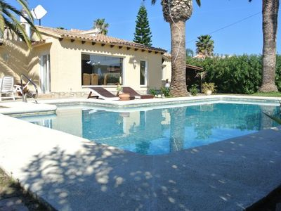Photo for OFFER 40%! Palm tree villa near the beach with big pool, roof terrace, mountain view for 8