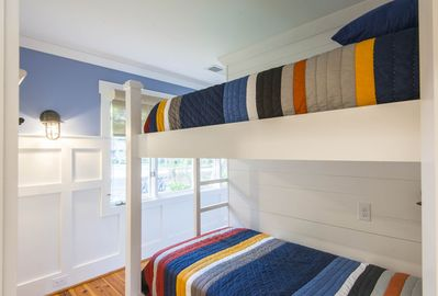 1st floor guest bedroom with (2) sets of bunk beds.  (4) Total Twin beds.