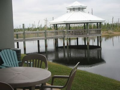 Patio view of lake/gazebo
