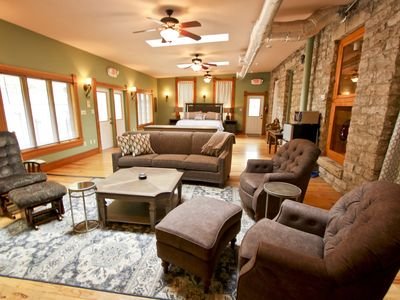 Photo for Rock House Suites, Cave Side Suite, Downtown Eureka Springs. Enormous Patio, Historic Cave Dwelling