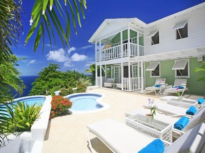 Photo for Saline Reef is a luxury 3 bedroom Cliffside villa with ocean views in St Lucia