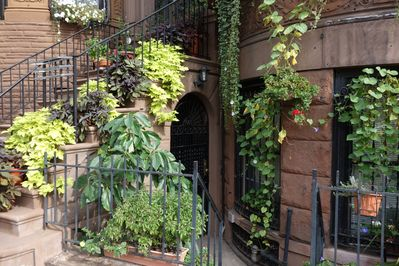 The apartment is on the garden floor with a private entrance.