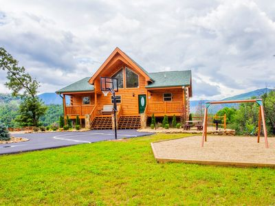 Photo for Private Luxury Mtn Cabin - Amazing Views Hot Tub, Huge Yard, Basketball Fire Pit