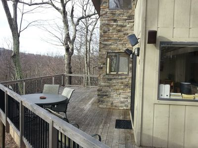 Deck has lots of space, gas grill & seating with breathtaking sunset views!