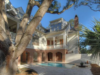 Photo for Gorgeous! 7 BR Custom E. Beach Home, 3 min to beach, pool/deck, huge porch, elev
