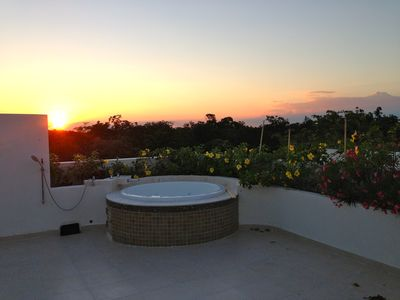 Sunset from the roof top deck... Dreaming in Tulum............