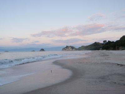 Dawn on our secluded private beach bordering the house