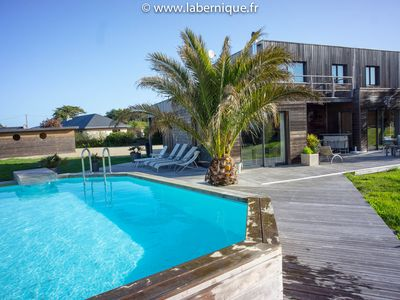 Photo for Wooden villa with private pool by the sea near Perros Guirec