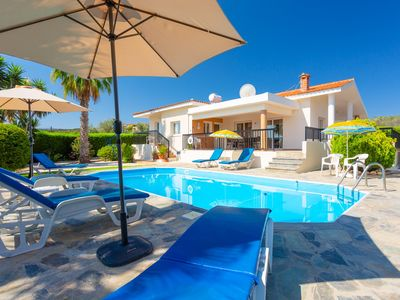 Photo for Villa Chrystalla: Large Private Pool, Walk to Beach, Sea Views, A/C, WiFi