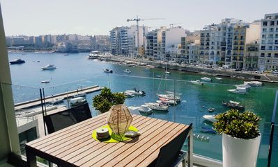 Seafront 1 bedroom apartment with unobstructed views of Spinola Bay, St Julians