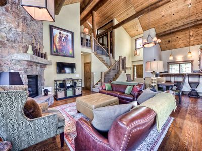 Photo for Spanish Peaks luxury cabin near Yellowstone with mountain views, hot tub and club amenities