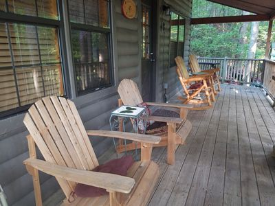 Photo for Peaceful cabin - Relax - Hot tub - WI-FI - short walk to town-Campfire