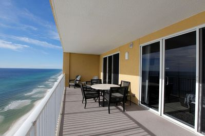 Balcony View - Large balcony with amazing views of the Gulf of Mexico beach.