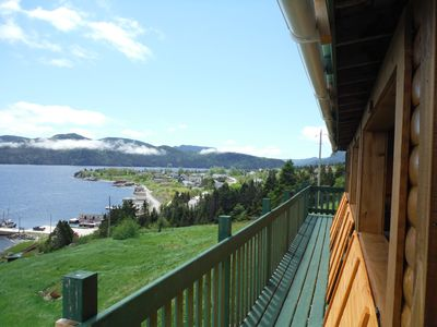 Photo for Rustic Log Style Home Overlooking Bonne Bay & Gros Morne Mountain.