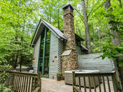 Photo for The Dog House - Romantic, Hot Tub, Creekside, Firepit. Perfect couples getaway!