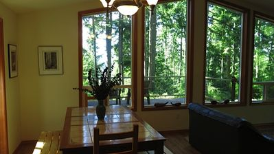 Dining room table with view of the bay