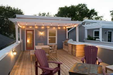 "Enjoy ""Nash Vegas"" in style on this deck with views of the downtown skyline."