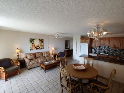 Dining, kitchen, living area