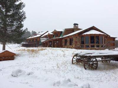 Winter view of Pine Grove home with large Piano Room in foreground