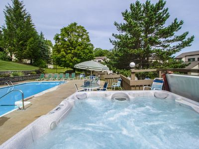 Photo for Cozy mountain condo w/ a shared hot tub & sauna - close to the slopes & golf!
