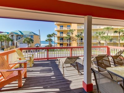 Photo for Spacious home w/ deck, hot tub & Gulf views - across from the beach, 2 dogs OK!