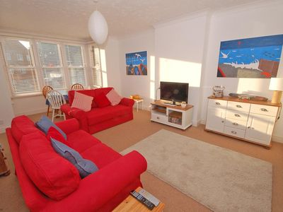 Photo for This first floor apartment is moments from the seafront and town, a great relaxing space