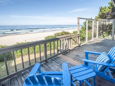 Photo for Ocean Front Beach Cottage w/High-End Mid-Century Furnishings in Roads End