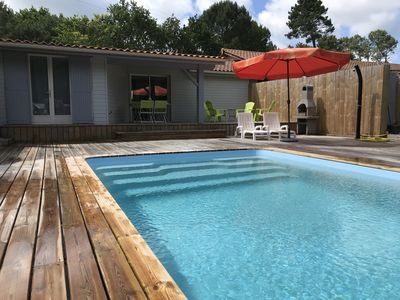 Photo for Near SOULAC / ME, Chalet YUCCA with heated indoor pool sleeps 6
