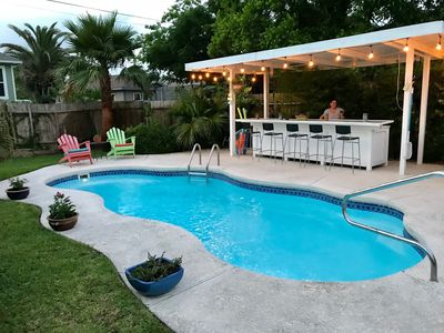 Private pool and bar with charcoal BBQ pit.