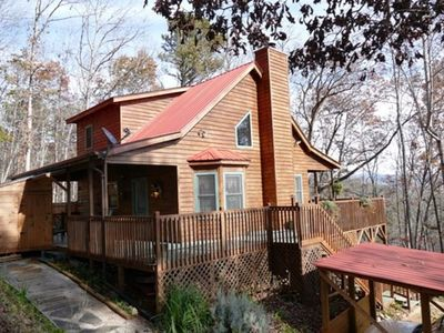 Photo for Romantic Mountain Top Cabin with Hot Tub, Wrap Around Porches, and Amazing Views