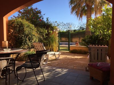 Photo for Lovely One Bed Garden Apartment, Pool/Jacuzzi/UKTV/ WIFI/ Free Parking/Port area