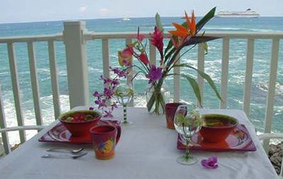 Dining on your oceanfront lanai (balcony)