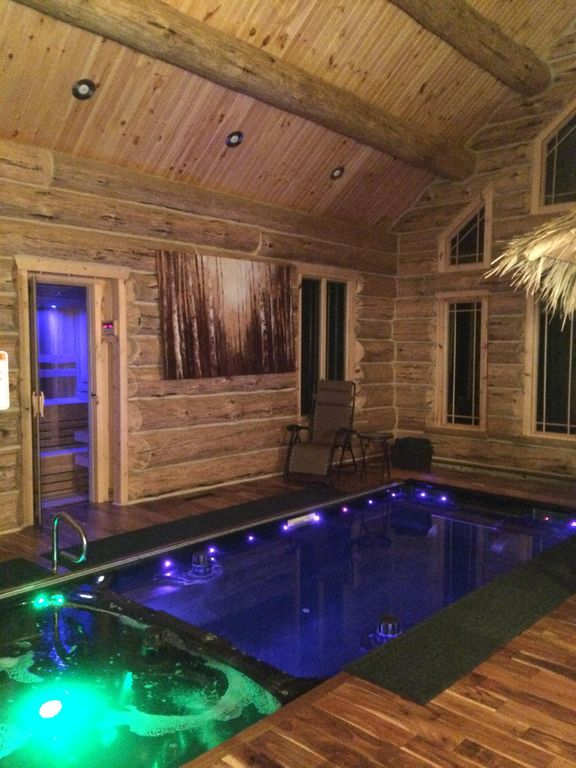 Luxury Custom Built Log Cabin With Indoor Pool And Spa On Lake Michigamme Le Mont Dore