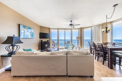 Main room with wall of windows w/spectacular Gulf-front views!