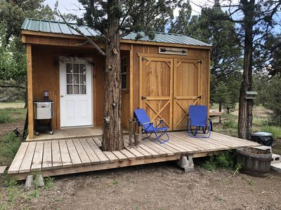 """Photo for HoneyBee Ranch of Tumalo. A cabin where  """"glamping"""" is more fun than camping!."""