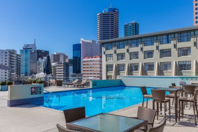 Resort like rooftop terrace with one of the best pools in Auckland.