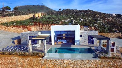 Photo for Vraskos seafront villa, breathtaking view, exclusive location, secluded creek.