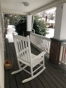 Cuddle up in a fleece blanket and watch the snow fall from our wraparound porch!