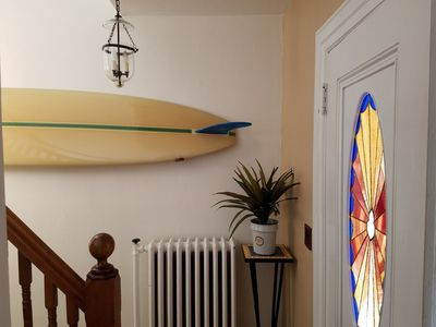 Front Hallway with 1960's Vintage Longboard