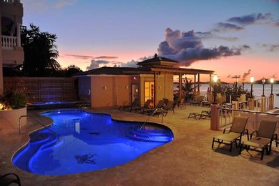 Beautiful pool deck with hot tub and magnificent views