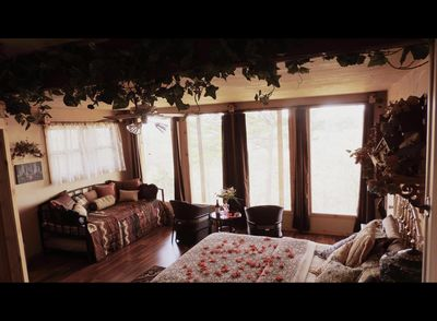 The Nest bedroom with awesome views of the Ozark Mountains