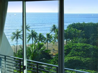 Ocean/beach view from the bedroom.