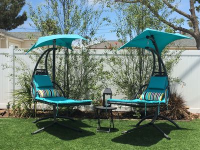 Relax in the swinging lounge chairs