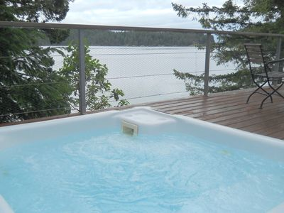 Wilcox Lodge Hot Tub on Deck with View of Gorge Harbour