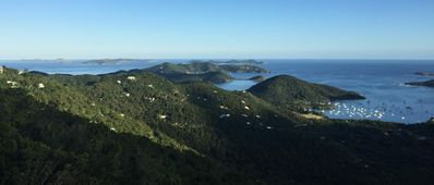 Spectacular views looking east over Coral Bay and the BVI!