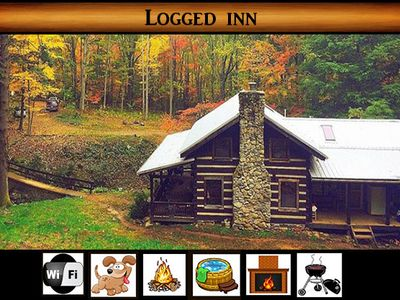 Photo for Logged Inn } Surround by Smoky Mtn. Park / Secluded / Fire Pit / Wears Valley / Hot Tub