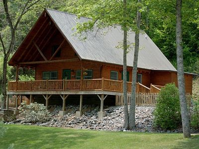 Photo for Creek Front Family Getaway in the Great Smoky Mountains with Hot Tub