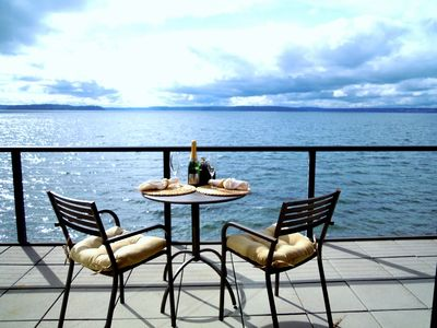 Evening with a glass of your favorite beverage on your deck toasting life!