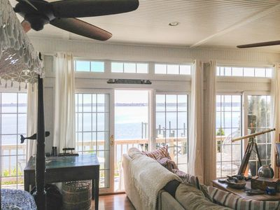 Photo for Old fashioned designer front porch living by the sea with expansive water views.