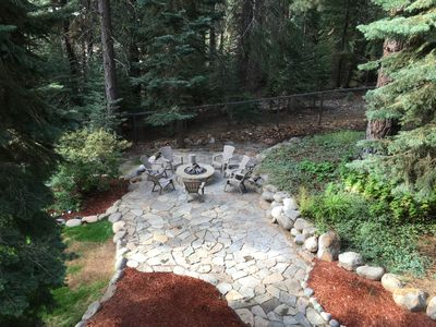 View of the backyard firepit from the upstairs deck.
